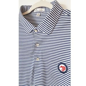 Peter Millar Cotton Polo Golf Shirt Blue SIZE XL